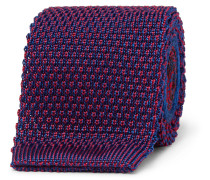 6cm Knitted Silk And Jacquard Tie