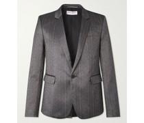 Slim-Fit Silk-Blend Shantung Suit Jacket