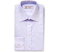 Lilac Slim-fit Checked Cotton Shirt