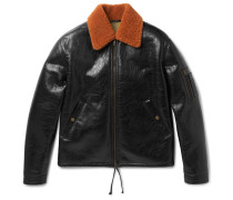 Shearling-trimmed Textured-leather Blouson Jacket