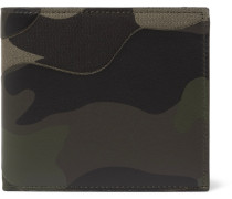 Camouflage-print Canvas And Leather Billfold Wallet