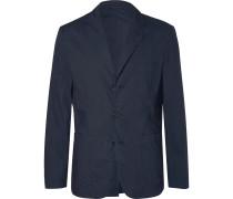 Navy Slim-fit Unstructured Garment-dyed Cotton-poplin Blazer