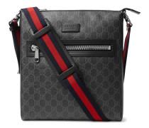 Leather-trimmed Monogrammed Coated-canvas Messenger Bag