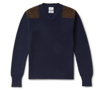 Merlin Slim-Fit Suede-Trimmed Cashmere Sweater