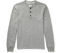 Slim-Fit Mélange Cotton-Blend Jersey Henley T-Shirt