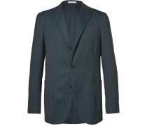 Blue Slim-fit Herringbone Stretch Wool-blend Blazer