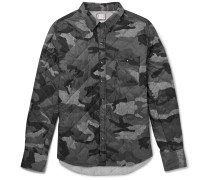 Camouflage-print Shell Down Overshirt