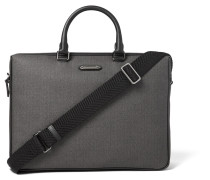 Leather-trimmed Herringbone Coated-canvas Briefcase