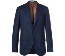 Blue Prince Of Wales Checked Wool, Linen And Silk-blend Suit Jacket