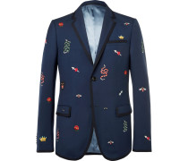 Navy Slim-fit Embroidered Wool And Mohair-blend Twill Suit Jacket