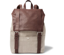 Canvas And Grained-leather Backpack