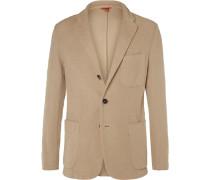 Beige Slim-fit Slub Cotton-jersey Blazer