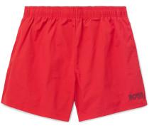 Short-length Logo-embroidered Swim Shorts - Red