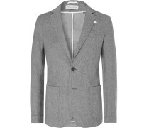 Grey Theobald Unstructured Cotton and Wool-Blend Blazer
