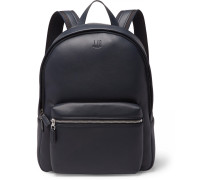 Hampstead Canvas-panelled Full-grain Leather Backpack