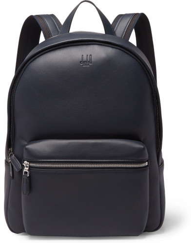 Hampstead Canvas-panelled Full-grain Leather Backpack - Midnight blue