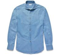 Slim-fit Cutaway-collar Washed-denim Shirt