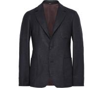 Blue Washington Unstructured Checked Cashmere Blazer