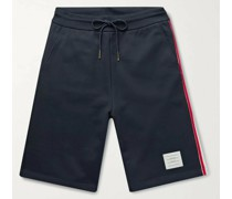 Striped Grosgrain-Trimmed Loopback Cotton-Jersey Shorts