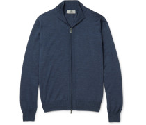 Slim-fit Ribbed Mélange Wool Zip-up Sweater