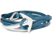 Anchor Leather Silver-plated Wrap Bracelet
