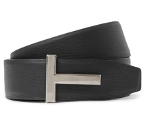 4cm Black And Brown Reversible Grained-leather Belt