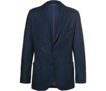 Blue Slim-fit Cotton And Virgin Wool-blend Piqué Blazer