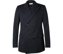 Blue Slim-fit Double-breasted Cotton-twill Blazer