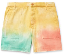 Tie-Dyed Cotton-Twill Shorts