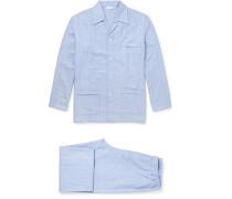 Arran Herringbone Brushed-cotton Pyjama Set
