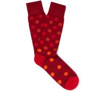 Polka-dot Mercerised Stretch Cotton-blend Socks