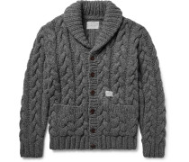 Shawl-collar Cable-knit Wool Cardigan