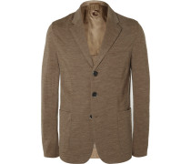 Sand Slim-fit Unstructured Wool And Cotton-blend Blazer
