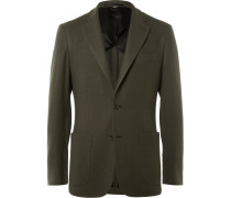 Green Slim-fit Cashmere Blazer