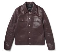 Slim-Fit Leather Trucker Jacket
