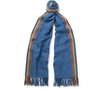 Striped Linen, Cotton, Cashmere And Silk-blend Scarf