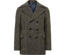 Double-Breasted Donegal Herringbone Wool Coat