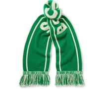 + Nba Celtics Fringed Intarsia Cashmere Scarf