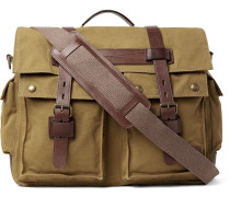 Colonial Leather-trimmed Cotton-canvas Messenger Bag