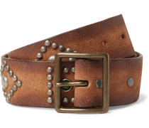 4.5cm Brown Studded Leather Belt