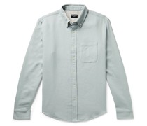 Slim-Fit Button-Down Collar Double-Faced Cotton Shirt