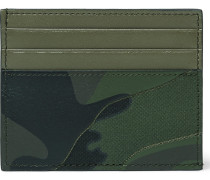 Camouflage-print Leather And Canvas Cardholder