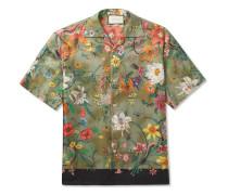 Camp-collar Printed Silk-twill Shirt