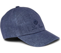 Embroidered Linen And Cotton-blend Baseball Cap