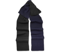 Two-tone Ribbed Wool-blend Scarf