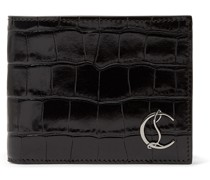 Logo-Appliquéd Croc-Effect Leather Billfold Wallet