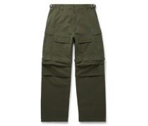 Wide-Leg Cotton-Ripstop Cargo Trousers