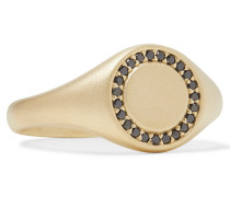 Halo Matte 14-Karat Gold Diamond Signet Ring