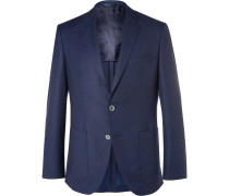 Navy Yanson Slim-fit Prince Of Wales Checked Virgin Wool And Silk-blend Blazer