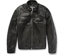 Full-grain Leather Café Racer Jacket